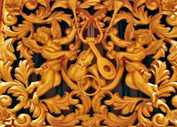 Carved gold leafed angels and instruments, pipe organ at Arizona State University, Tempe AZ, cherubs