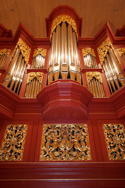 Pipe organ at ASU, woodcarving artist Jude Fritts