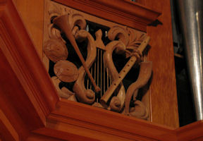 Carved wood instruments, harp. Grace Lutheran Church, Tacoma, WA