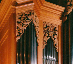 pipe shade carving, Carved ornament, Fritts pipe organ, Grace Lutheran, Tacoma, WA