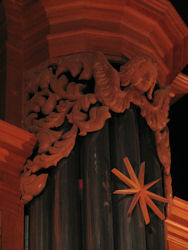 pipe shade carving, Carved ornament & flower, Fritts pipe organ, Grace Lutheran, Tacoma, WA