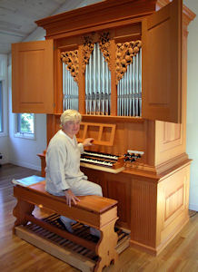 Fritts pipe organ, Lippincott Residence, wood carvings by Jude Fritts