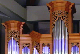 Decorative carving in pipe shades for the organ, DeBartolo Center, University of Notre Dame, IN