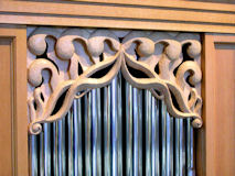 Carved sea shell for pipe organ at University of Notre Dame, Indiana