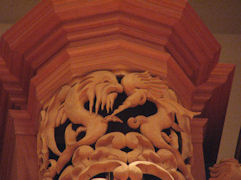 Carved sculpture of sea monsters for pipe shade carvings for the organ at the Gottfried and Mary Fuchs Organ, Pacific Lutheran University, Tacoma Washington, wood carver Jude Fritts