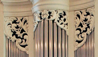 Carved ornament in pipe shades for the Fritts organ at Princeton Theological Seminary, NJ