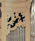 Carved ornament in pipe shades of the pipe organ at Princeton Theological Seminary, NJ