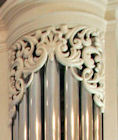 Decorative wood carving, pipe shades, Princeton Theological Seminary, NJ