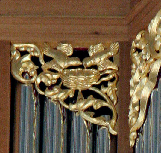 Pipe shade carving, birds, Fritts pipe organ, St Marks, Seattle, WA