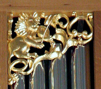 Pipe shade carving, Carved Lion, Fritts pipe organ, Marion Camp Oliver Organ at St. Mark's Cathedral in Seattle, WA