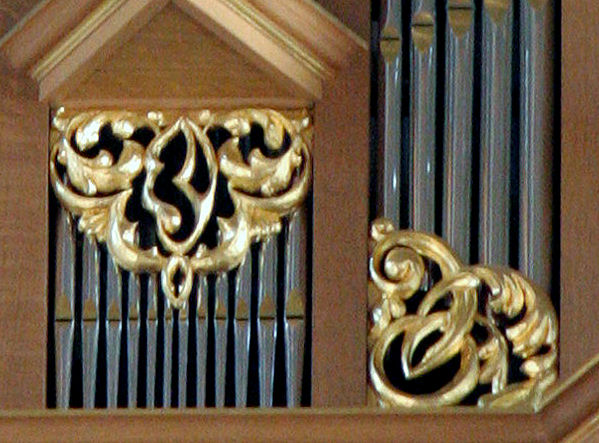 Pipe shade carving, Fritts pipe organ, carved wood sculpture, St Marks, Seattle, WA