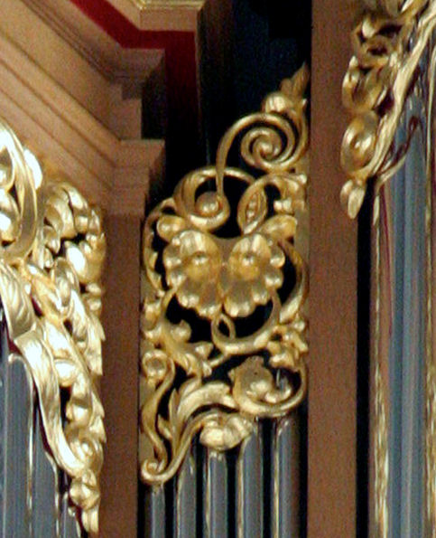 Pipe shade carving, Carved owl, Fritts pipe organ, St Marks, Seattle, WA