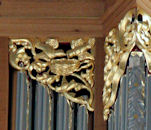 Carved birds, pipe organ carving, St Marks, Seattle, WA
