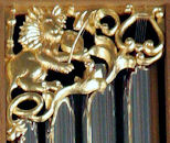 Gold leafed wood carved Lion, Pipe shades for Marion Camp Oliver Organ at St. Mark's Cathedral in Seattle, WA