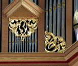 Carved wood sculpture, pipe organ, St Marks, Seattle, WA