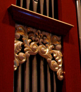pipe shade carving, carved ornament, accents and highlights, Fritts pipe organ, Vassar College, Poughkeepsie, New York