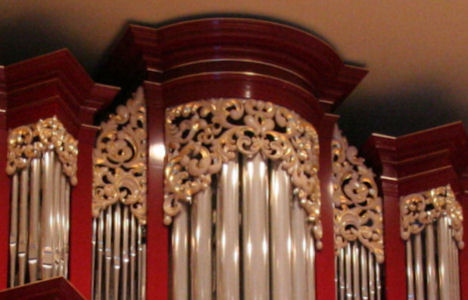 Carved ornament, Fritts pipe organ, Vassar College, Poughkeepsie, paint highlights